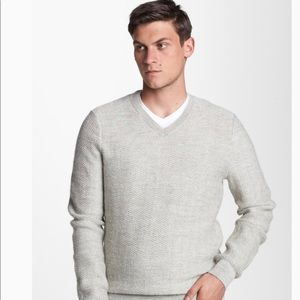 Vince Gray Alpaca and Wool V Neck Sweater